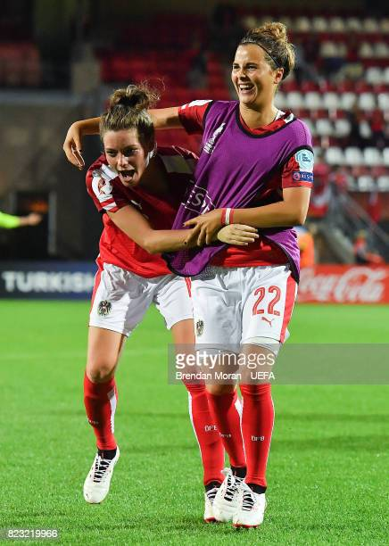 Verena Aschauer and Jennifer Klein of Austria celebrate after the UEFA Women's EURO 2017 Group C match between Iceland and Austria at Sparta Stadion...