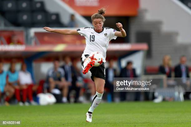 Verena Aschauer of Austria in action during the UEFA Women's Euro 2017 Quarter Final match between Austria and Spain at Koning Willem II Stadium on...
