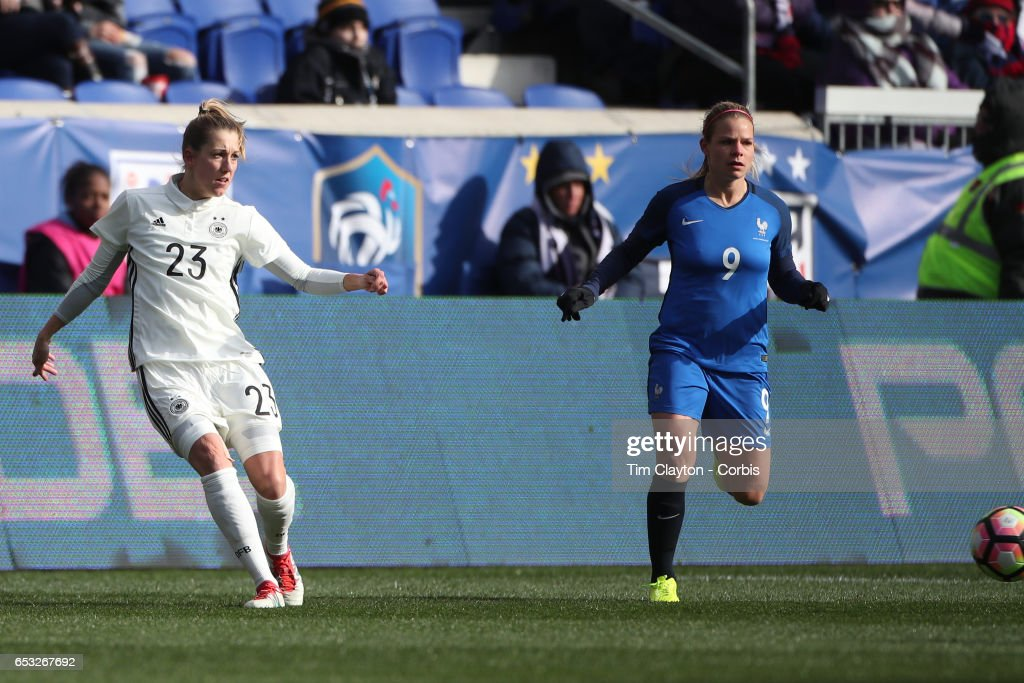 Verena Faisst #23 of Germany in action wached by Eugénie Le Sommer #9 of France during the France Vs Germany SheBelieves Cup International match at Red Bull Arena on March 4, 2017 in Harrison, New Jersey.