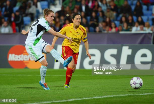 Verena Faisst of VfL Wolfsburg scores their third goal during the UEFA Women's Champions Final match between Tyreso FF and Wolfsburg at Do Restelo...