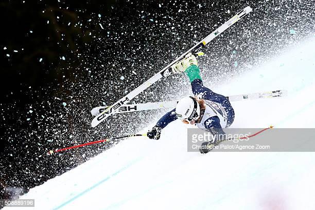 Verena Gasslitter of italy crashes during the Audi FIS Alpine Ski World Cup Women's Super G on February 07 2016 in GarmischPartenkirchen Germany