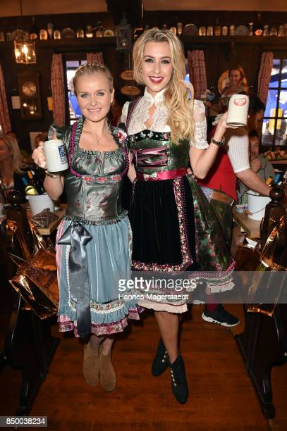 Verena Kerth and Barbara Sturm attend the Charity Lunch at 'Zur Bratwurst' during the Oktoberfest 2017 on September 20 2017 in Munich Germany