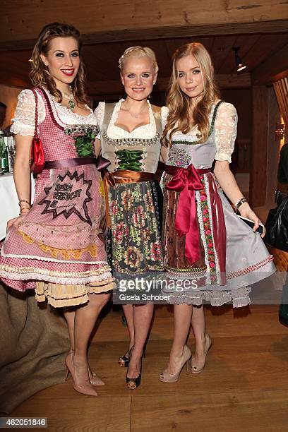 Verena Kerth; Dr. Barbara Sturm and her daughter Charly Sturm, all wearing a Dirndl of Lola Paltinger during the Weisswurstparty at Hotel Stanglwirt...