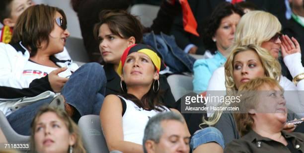 Verena Kerth, girlfriend of german Goalkeeper Oliver kahn sits beside Tina Krueger, girlfriend of midfielder Sebatian Kehl during the FIFA World Cup...