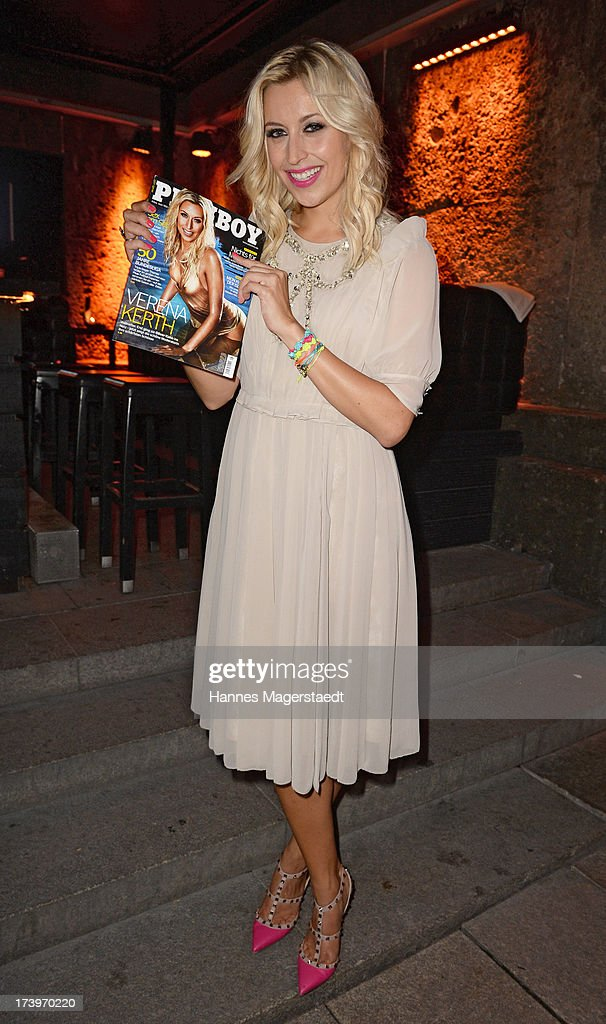 Verena Kerth poses with the new Playboy during the Verena Kerth birthday party at P1 on July 18, 2013 in Munich, Germany. Kerth also celebrated the release of the new Playboy issue with her on the cover.