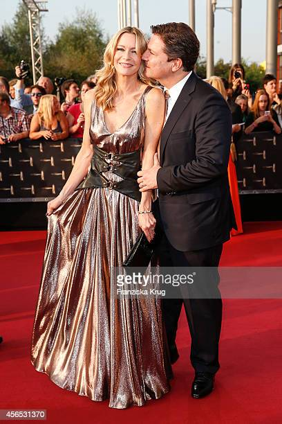 Verena Klein and Francis FultonSmith attend the red carpet of the Deutscher Fernsehpreis 2014 on October 02 2014 in Cologne Germany
