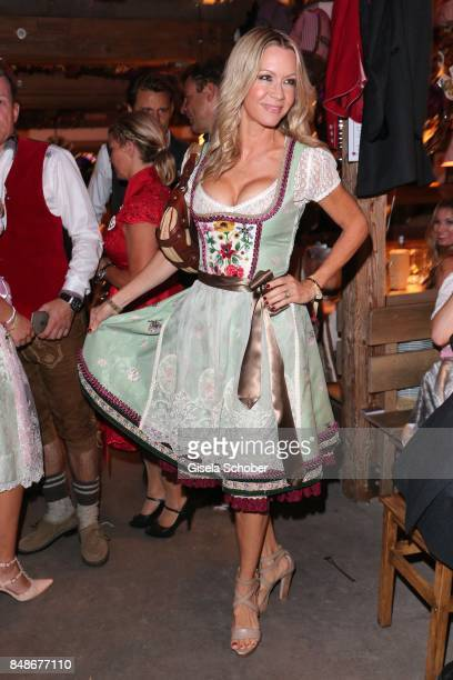 Verena Klein wearing a dirndl by Lola Paltinger during the 'Almauftrieb' as part of the Oktoberfest 2017 at Kaeferschaenke Tent on September 17 2016...