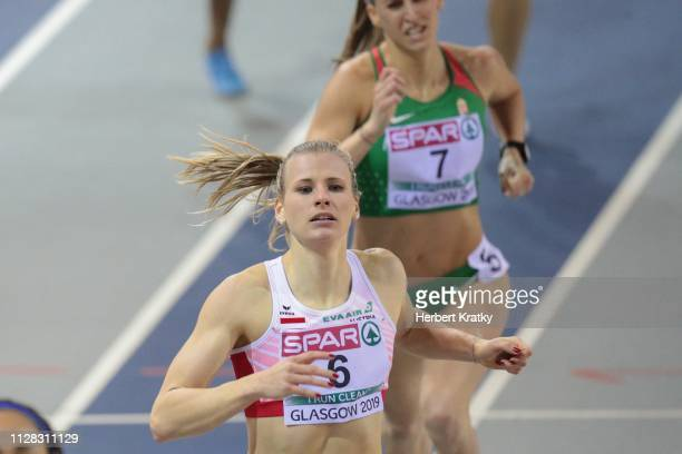 Verena Preiner of Austria competes in the 800m event of the women's pentathlon on March 1 2019 in Glasgow United Kingdom