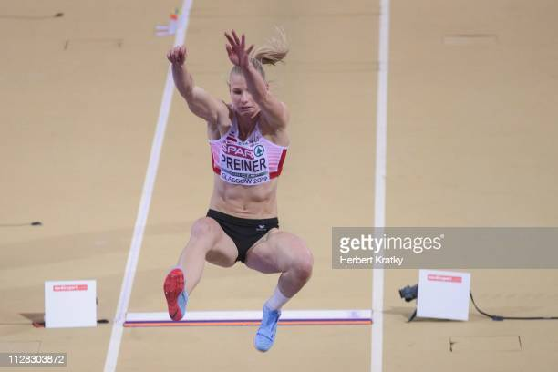 Verena Preiner of Austria competes in the high jump event of the women's pentathlon on March 1 2019 in Glasgow United Kingdom