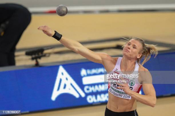 Verena Preiner of Austria competes in the shot put event of the women's pentathlon on March 1 2019 in Glasgow United Kingdom