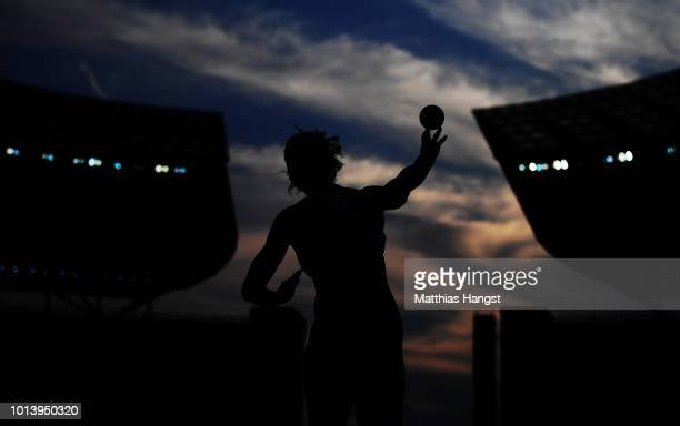 Verena Preiner of Austria competes in the Women's Heptathlon Shot Put during day three of the 24th European Athletics Championships at Olympiastadion...