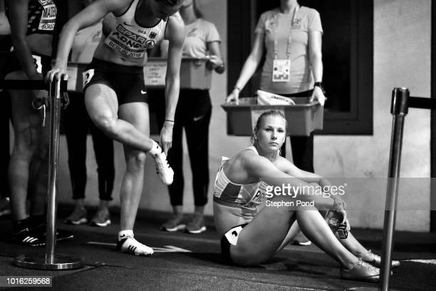Verena Preiner of Austria sits as she prepares before competing in the Women's Heptathlon 200m during day three of the 24th European Athletics...