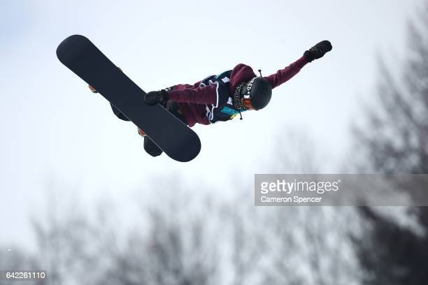 Verena Rohrer of Switzerland competes in the FIS Freestyle World Cup Snowboard Halfpipe Qualification at Bokwang Snow Park on February 17 2017 in...