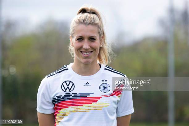 Verena Schweers poses during the Germany Women's Team Presentation at Training Ground of Hotel-Residence Klosterpforte on April 03, 2019 in...