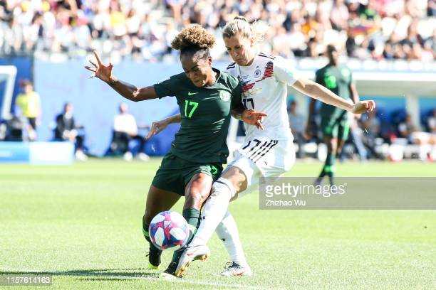 Verena Schweersof Germany competes for the ball with Francisca Ordega of Nigeria during the 2019 FIFA Women's World Cup France Round Of 16 match...