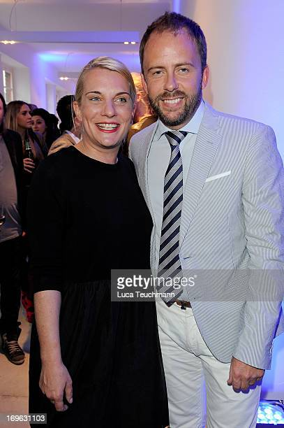 Verena Vehling and Stefan Kiwit attend the Niels Ruf Art Exhibition at Camera Works on May 29, 2013 in Berlin, Germany.