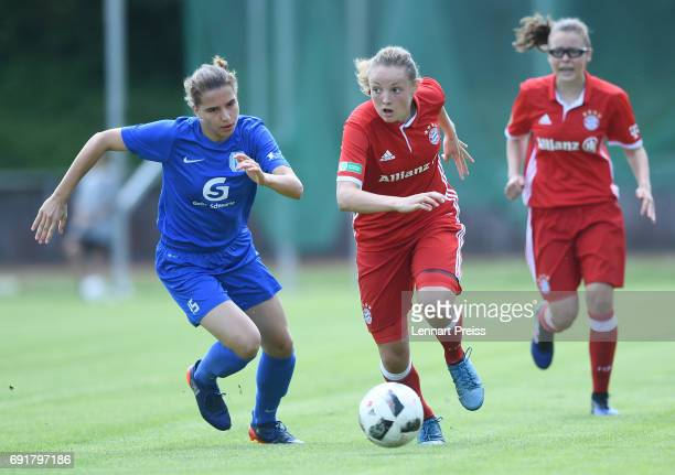 Verena Wieder of FC Bayern Muenchen challenges Jasmin Jabbes of SV Meppen during the B Junior Girl's German Championship Semi Final First Leg match...