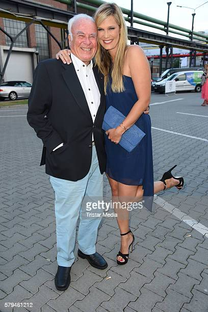 Verena Wriedt and her father Hubertus Wriedt attend the Unique show during Platform Fashion July 2016 at Areal Boehler on July 23 2016 in Duesseldorf...