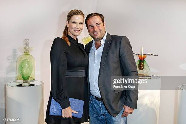 Verena Wriedt and Thomas Schubert attend the Hubert le Gall Vernissage At Ruinart PopUp Gallery on April 30 2015 in Berlin Germany