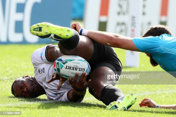 Vereniki Goneva of Fiji in action during the Rugby World Cup 2019 Group D game between Fiji and Uruguay at Kamaishi Recovery Memorial Stadium on...