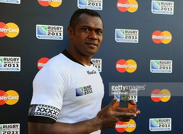 Vereniki Goneva of Fiji poses with the Man of The Match award following his team's victory during the IRB 2011 Rugby World Cup Pool D match between...