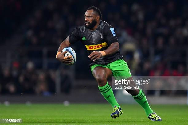 Vereniki Goneva of Harlequins in action during the Gallagher Premiership Rugby Big Game 12 match between Harlequins and Leicester Tigers at on...