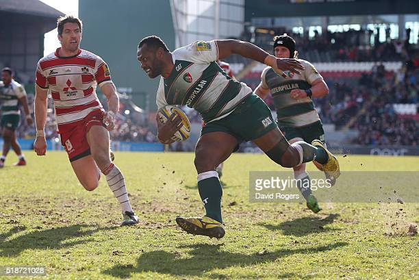 Vereniki Goneva of Leicester breaks clear to score a second half try during the Aviva Premiership match between Leicester Tigers and Gloucester at...