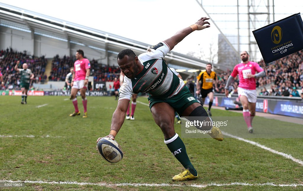 Vereniki Goneva of Leicester scores his second and Leicester's fourth try during the European Rugby Champions Cup quarter final match between Leicester Tigers and Stade Francais at Welford Road on April 10, 2016 in Leicester, England.