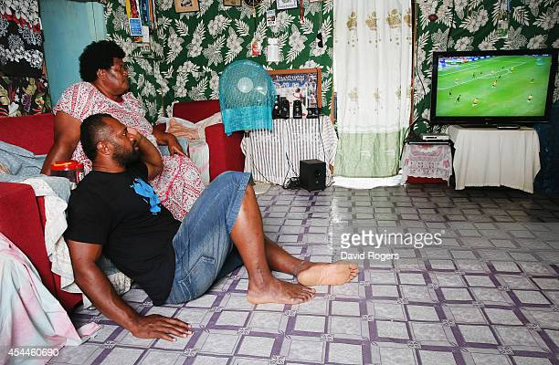 Vereniki Goneva of Leicester Tigers and Fiji relaxes at his family home with his mother Melaia Nabewa in the village of Nagado on June 24 2014 in...