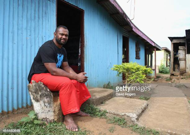 Vereniki Goneva of Leicester Tigers and Fiji wearing a traditional Sulu poses at his family home in the village of Nagado on June 24 2014 in Nagado...