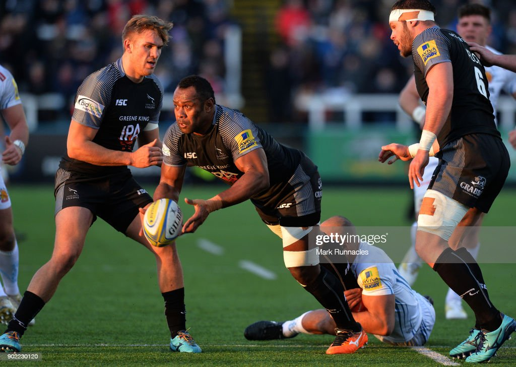 Vereniki Goneva of Newcastle Falcons is tackled by Olly Woodburn of Exeter Chiefs during the Aviva Premiership match between Newcastle Falcons and Exeter Chiefs at Kingston Park on January 7, 2018 in Newcastle upon Tyne, England.