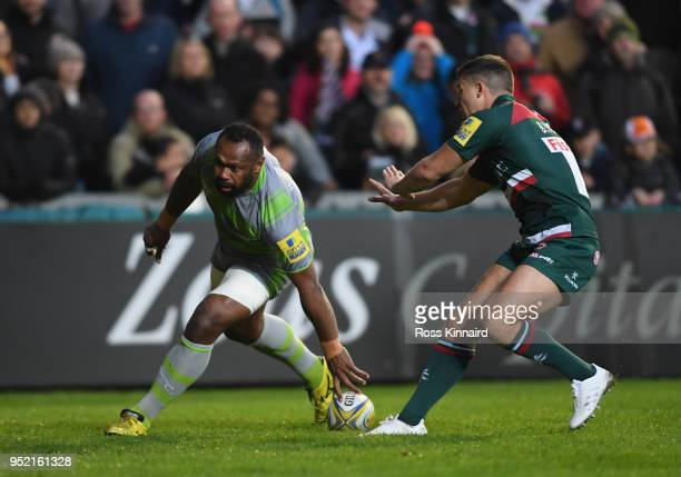 Vereniki Goneva of Newcastle Falcons touches down to score a try during the Aviva Premiership match between Leicester Tigers and Newcastle Falcons at...