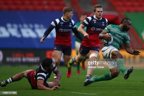 Vereniki Goneva of Newcastle is upended by Charles Piutau of Bristol during the Gallagher Premiership Rugby match between Bristol Bears and Newcastle...