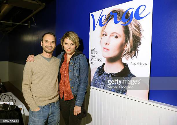 Verge founder and creative director Jeff Vespa and actress Amy Seimetz attend The Verge List Party at the Samsung Galaxy Lounge at Village At The...