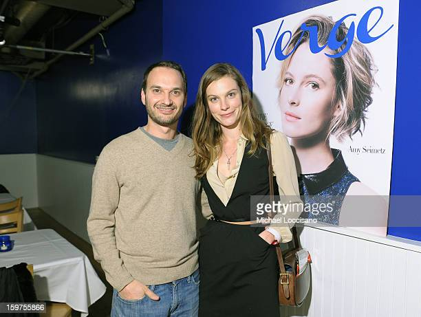 Verge founder and creative director Jeff Vespa and actress Lindsay Burdgeattends The Verge List Party at the Samsung Galaxy Lounge at Village At The...