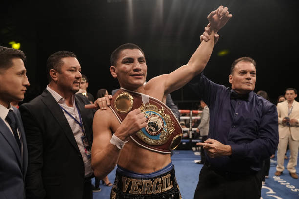 Vergil Ortiz Jr. Celebrates after defeating Egidijus Kavaliauskas at The Ford Center at The Star on August 14, 2021 in Frisco, Texas.