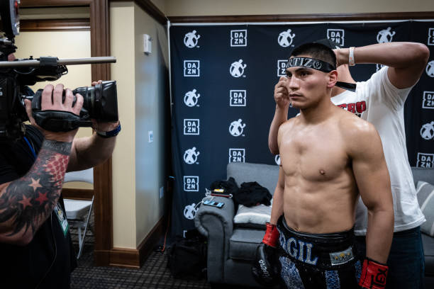 Vergil Ortiz Jr. Prepares for the WBO international welterweight championship in his dressing room at Dickies Arena on March 20, 2021 in Fort Worth,...