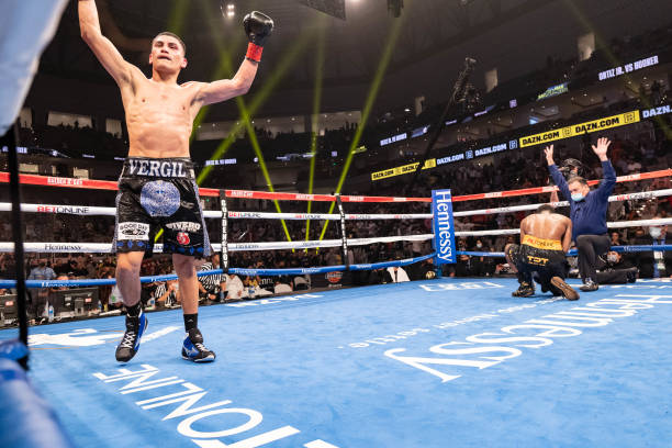 Vergil Ortiz Jr. Rejoices after knocking down Maurice Hooker for the WBO international welterweight championship at Dickies Arena on March 20, 2021...