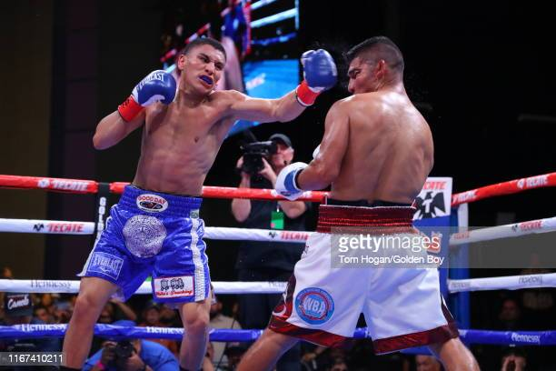 Vergil Ortiz Jr throws punches at Antonio Orozco at The Theatre at Grand Prairie on August 10 2019 in Grand Prairie Texas