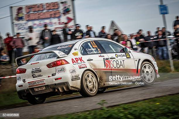 Verhees and Limbioul in the Mitsubishi EVO X in action during the 42e Rallye Du Condroz-Huy in Huy, Belgium on November 8, 2015.