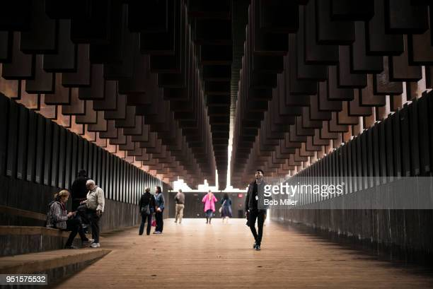 """Veric Lang visits the National Memorial For Peace And Justice on April 26, 2018 in Montgomery, Alabama. """"Itâs powerful,"""" Lang said. """"Seeing the list..."""