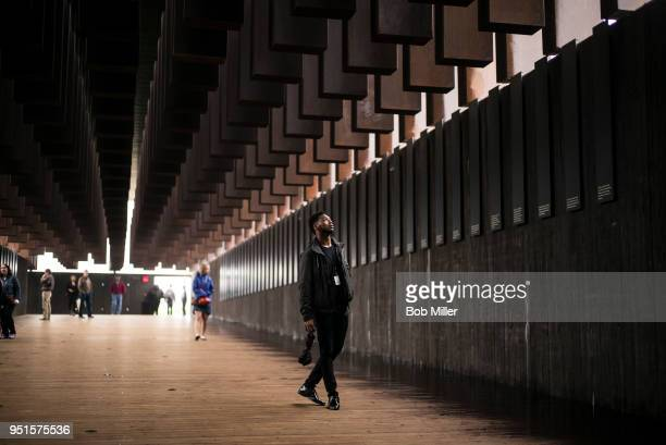 Veric Lang visits the National Memorial For Peace And Justice on April 26 2018 in Montgomery Alabama Itâs powerful Lang said Seeing the list of names...