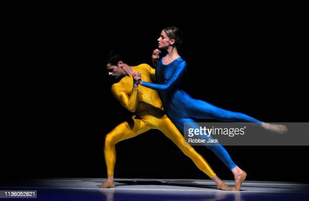 Verine Bouwman and Pascal Schur in Hans van Manen's Polish Pieces part of the Dutch Masters programme presented by Introdans at The Linbury Theatre...