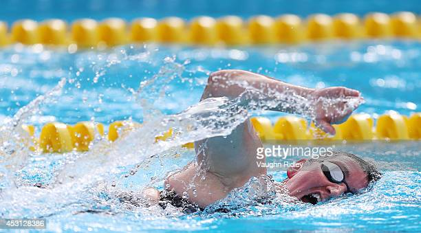 Verity Dobbie of Great Britain competes in the Women's 800m Freestyle at Parc JeanDrapeau during the 15th FINA World Masters Championships on August...