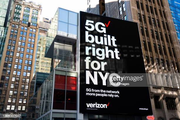 Verizon 5G built right for NYC advertisement seen outside one of their stores in Midtown Manhattan