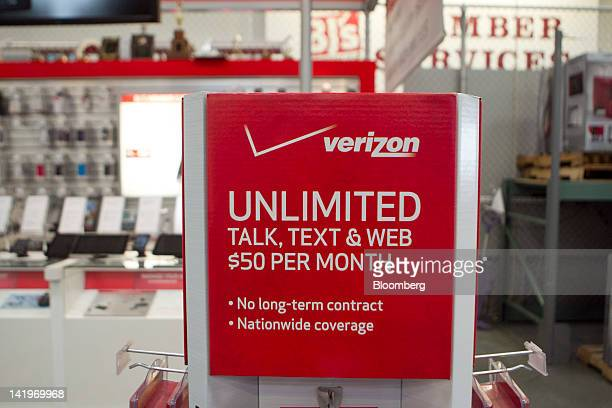 A Verizon Communications Inc store stands inside a BJ's Wholesale Club Inc store in Falls Church Virginia US on Tuesday March 27 2012 The US Bureau...