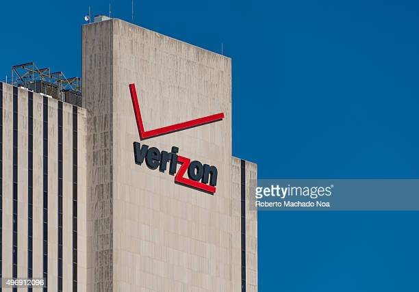 Verizon signage and logo on its building at 375 pearl street New York city The building is windowless and has a simple architecture Verizon is a...