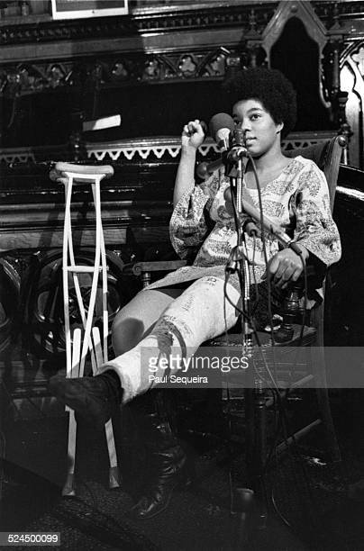 Verlina Brewer who was injured and survived the nighttime raid speaks at a Pantherheld inquest into the raid and death of Fred Hampton Chicago...