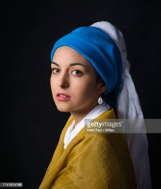 vermeer, girl with a pearl earring remake - pearl earring stock pictures, royalty-free photos & images