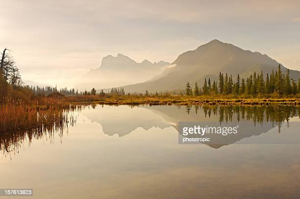 Vermilion Lakes dawn reflections